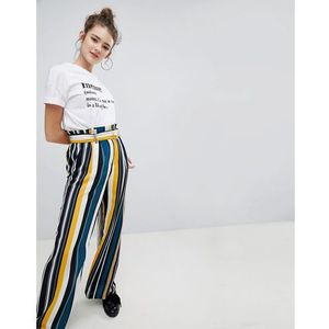 wide leg trouser with tie waist in multi stripe - multi marki Bershka