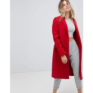 Bershka Long Line Car Coat - Red