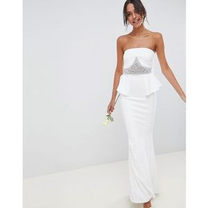 City goddess wedding peplum maxi dress with embellished detail - white