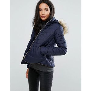Brave Soul Zip Padded Coat - Navy