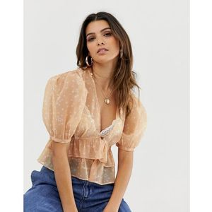 frill hem top in star print - beige marki Skylar rose