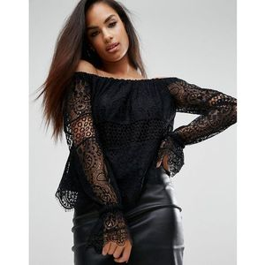 Kendall + Kylie Off-Shoulder Lace Top - Black, kolor czarny