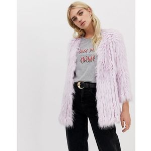 River island faux fur coat in purple - purple