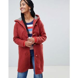 hooded toggle coat with check lining - orange, Esprit, 34-38