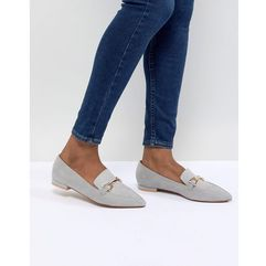 design lance pointed loafer ballet flats - grey, Asos