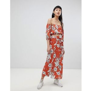 Pull&Bear co-ord floral print skirt in rust - Red