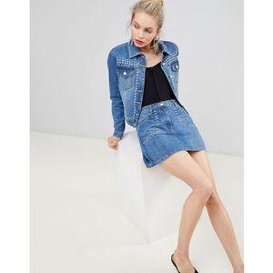 Parisian studded denim a-line skirt - Blue, kolor niebieski