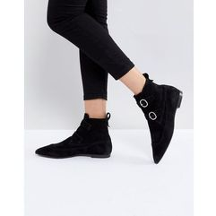 pointed buckle detail boots in suede - black, Allsaints