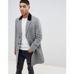 ASOS DESIGN wool mix overcoat in herringbone with velvet collar in grey - Grey, kolor szary