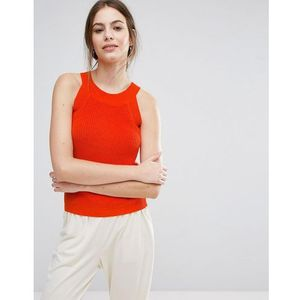Selected Knitted Cut Out Top - Red, kolor czerwony