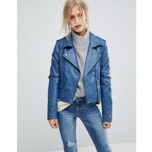 Current Air Leather Look Biker Jacket - Blue
