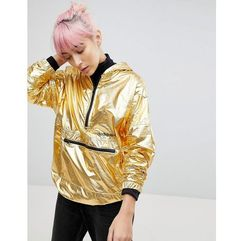 adidas Originals Half Zip Hooded Jacket In High Shine Gold - Gold, kolor Gold