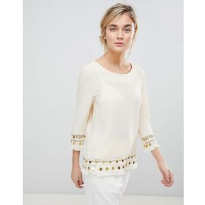 tunic top with coin embroidery - cream marki See u soon