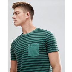 Abercrombie & Fitch Garment Dyed Stripe Pocket T-Shirt in Green - Green
