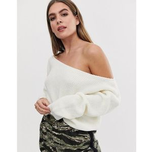 PrettyLittleThing off shoulder jumper in cream - Cream, kolor beżowy