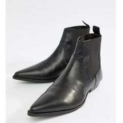 ASOS DESIGN Wide Fit Chelsea Boots In Black Faux Leather - Black