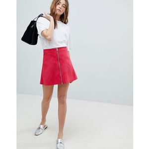 zip through faux suede a-line skirt - pink, Only