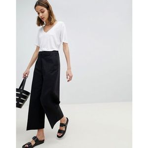 Selected wide leg cropped trouser - black