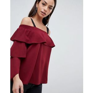 ruffle bardot top - purple marki Ax paris