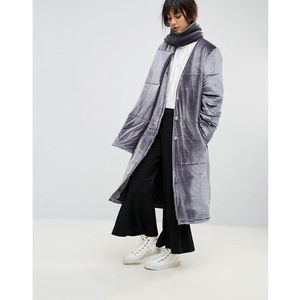padded longline coat in velvet with detachable scarf - grey, House of sunny
