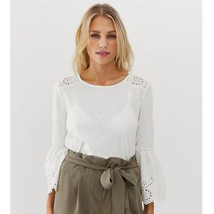 bell sleeve broderie detail top in white - white, Esprit