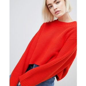 Weekday Thick Rib Cropped Jumper - Red