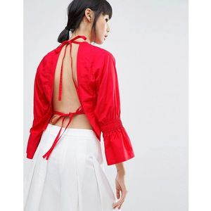 open back top with flare sleeve - red, House of sunny