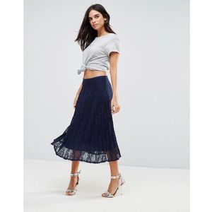 pleated lace midi skirt - navy marki Liquorish