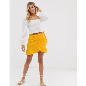Pimkie tie side broderie skirt in yellow - Yellow