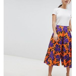 Asos petite wide leg culottes with flowing hem in orange floral print - orange
