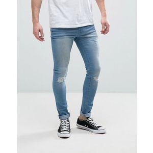 Hoxton Denim Super Skinny Mid Wash Jeans with Ripped Knee - Blue, jeans