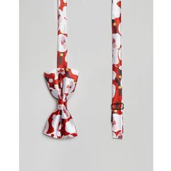 christmas santa print bow tie - red, 7x