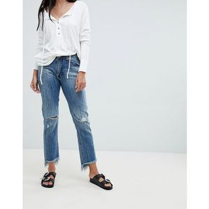 One teaspoon high waist straight jeans with rips and raw hem - blue