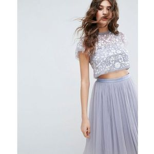 meadow embroidered tulle cropped top - blue, Needle & thread