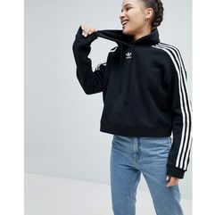 adicolor three stripe cropped hoodie in black - black marki Adidas originals
