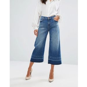 J Brand Mid Rise Wide Leg Crop with Raw Hem - Blue, kolor niebieski