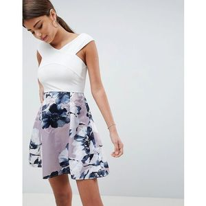 two in one floral skirt dress - cream marki Ax paris