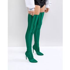 ASOS KENDRA Point Over The Knee Boots - Green