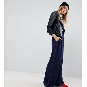 Asos tall woven contrast piped track pant - navy