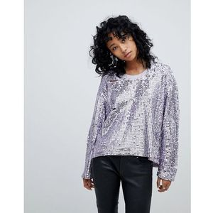 Religion oversized top in sequin - white