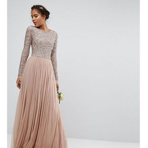 Maya tall long sleeve sequin top maxi tulle dress - brown