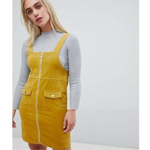 zip front pinafore mini dress in yellow - yellow, Pieces, 34-42