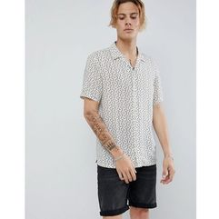 AllSaints short sleeve revere shirt in ecru with note print - Beige