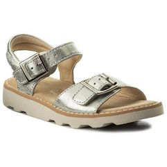 Sandały CLARKS - Crown Bloom 261310606 Silver Leather, kolor szary