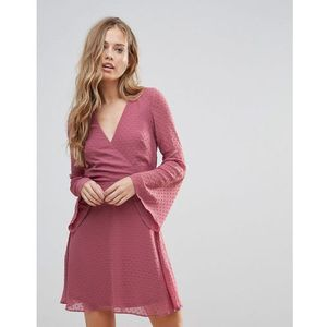 Oh My Love Textured Flare Sleeve Baby Doll Dress - Pink
