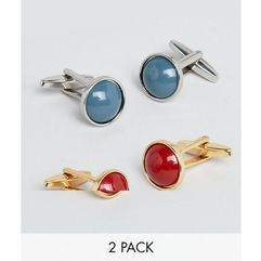 DesignB Red & Blue Circle Cufflinks In 2 Pack Exclusive To ASOS - Multi