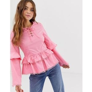 top with tiered hem - pink marki Glamorous