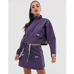 Adidas originals ryv patch pocket cropped jacket in purple - purple