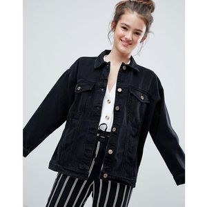 Monki oversized denim jacket - black