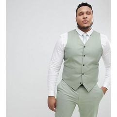 ASOS PLUS Wedding Skinny Suit Waistcoat In Sage Green - Green, kolor zielony
